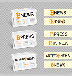 Crypto newspapers set transparent vector
