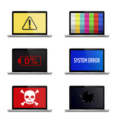 error signs on laptop screens isolated on white vector image