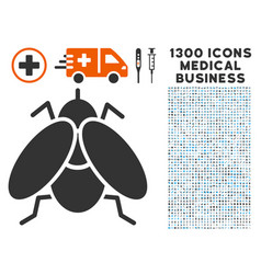 Fly insect icon with 1300 medical business icons vector