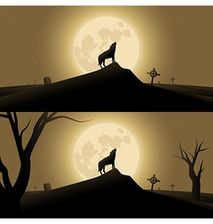 Halloween background with werewolf vector image