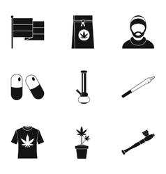 Hashish icons set simple style vector image