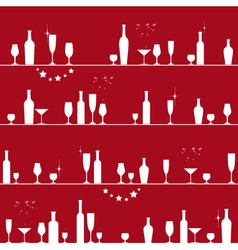 Holiday seamless pattern with glasses and bottles vector