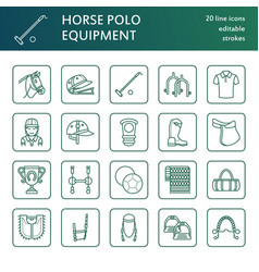 horse polo flat line icons of vector image