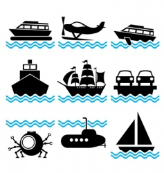 Icons boat vector