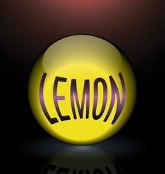 Lemon glass sphere purple text logo vector