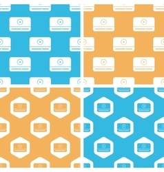 Mediaplayer window pattern set colored vector