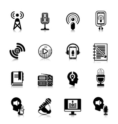 Podcast black icons channel concept vector