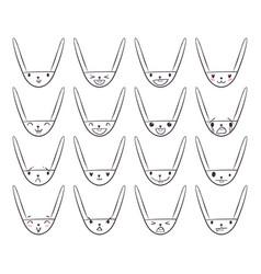 Rabbit handdrawn emoticons 2 vector