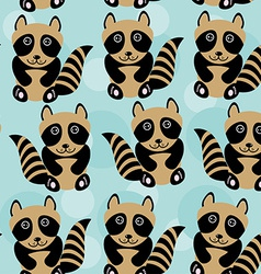 Raccoon Seamless pattern with funny cute animal on vector image vector image