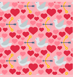 red heart dove seamless pattern background vector image vector image