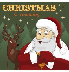 Santa Claus and deer in the forest vector image