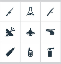 Set of 9 simple military icons can be found such vector