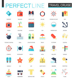 set of flat travel cruise icons vector image