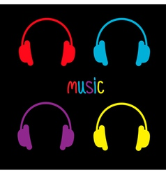 Set of headphones and colorful word Music Card vector image vector image