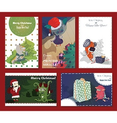 Set of monster cards with christmas tree presents vector