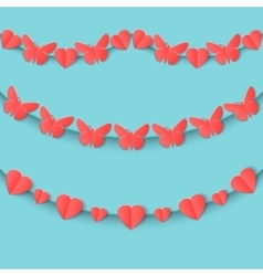 Set of seamless garlands of pink hearts and vector image