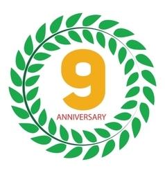 Template logo 9 anniversary in laurel wreath vector