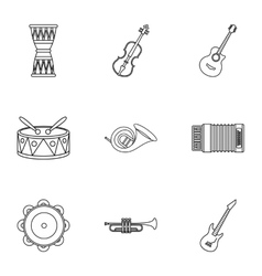 Tools for music icons set outline style vector image vector image