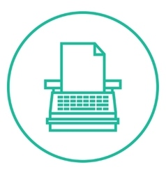 Typewriter line icon vector image vector image