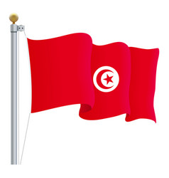 waving tunisia flag isolated on a white background vector image