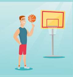 young caucasian basketball player spinning a ball vector image vector image