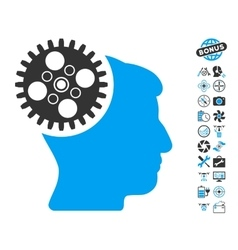 Head gearwheel icon with copter tools bonus vector
