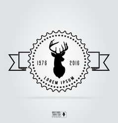 Badge labels hipster logo deer head retro vintage vector