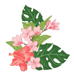Bright exotic tropical flowers and leaves vector