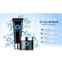 hand cream black tube bottle blue drop background vector image
