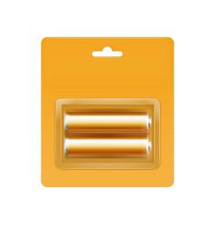 Yellow alkaline batteries in packed for branding vector