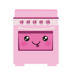 Pink color silhouette of cartoon stove with oven vector