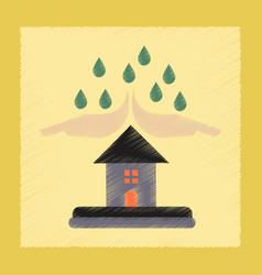 Flat shading style icon hand house rain vector