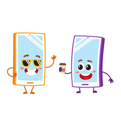 cartoon mobile phone characters wearing vector image
