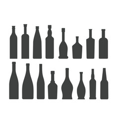 Bottle silhouette set isolated on white background vector