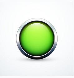Green round button vector