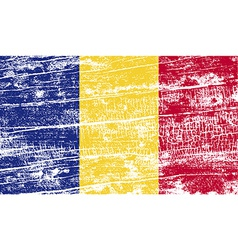 Flag of romania with old texture vector