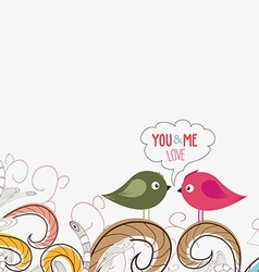 Couple of cute birds doodle floral design vector