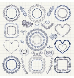 Hand drawn floral frames borders wreaths vector