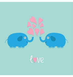 Two elephant with heart fountan love flat vector