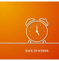 Back to school card with paper alarm clock vector