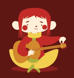 Cute girl tuning acoustic guitar vector