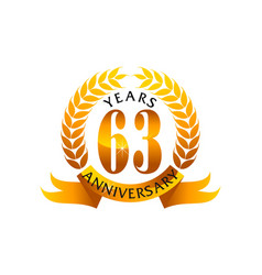 63 years ribbon anniversary vector
