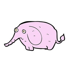 Comic cartoon sad little elephant vector