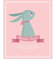 Cute vintage bunny with a ribbon easter card vector