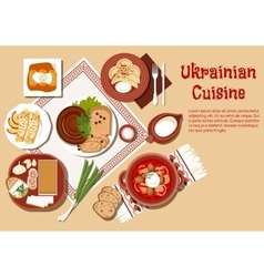Traditional ukrainian cuisine dishes set vector