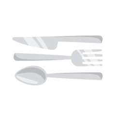 Cutlery set with fork knife and spoon table vector
