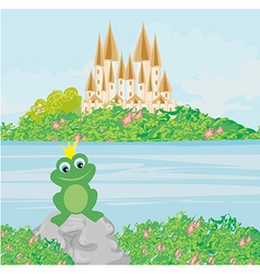 Frog with a crown vector