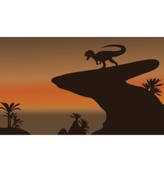 Silhouette of one allosaurus in cliff vector