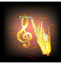 Saxophone on fire a background with music notes vector