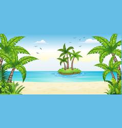 A tropical coastal landscape with isle vector